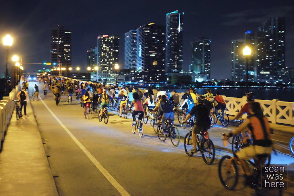 Critical Mass. Venetian Causeway, Miami Beach