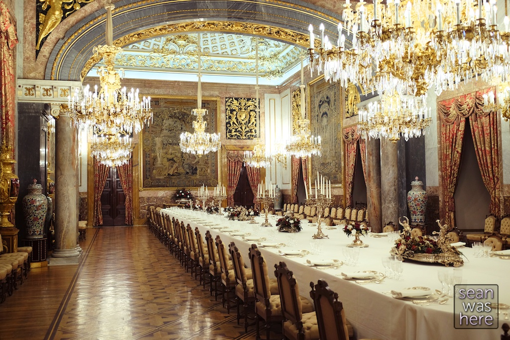 The Dining Hall of the Royal Palace, Madrid Spain.