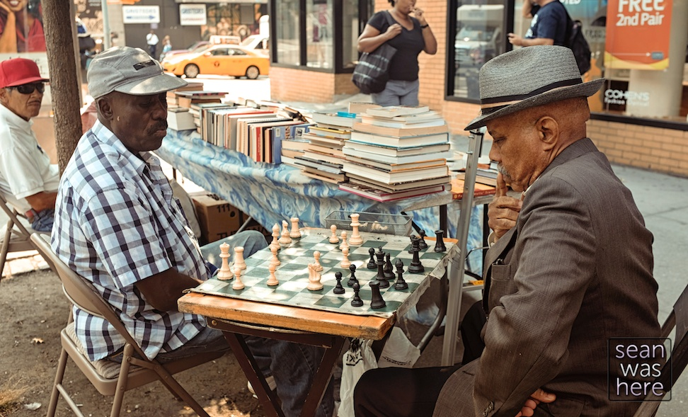 Street Chess.  101st & Broadway. Upper West Side NYC Sean Was Here