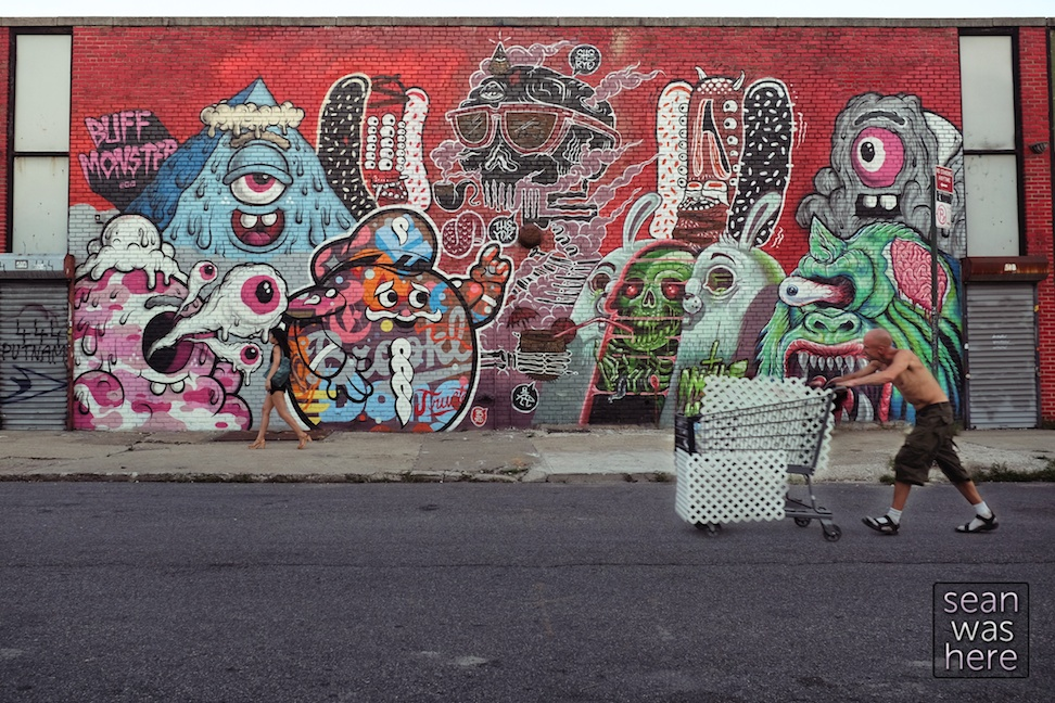 Bushwick Street Art. Buff Monster, Trusto Corp, Sheryo, The Yok, Nychos and LAmour Supreme Sean Was Here