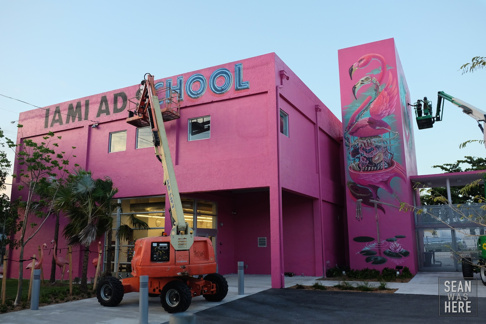 Five8 (left) and Nychos painting up the new Miami Ad School location in Wynwood (having moved from South Beach). Wynwood Miami