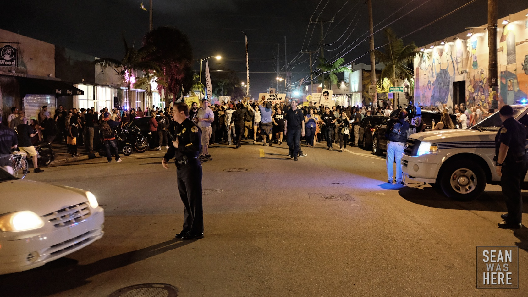 Protesters shut down NW 2nd Ave for some time before moving onto shutting down Interstate 95, blocking all traffic to the beach on the Friday night of Art Basel. Wynwood Miami