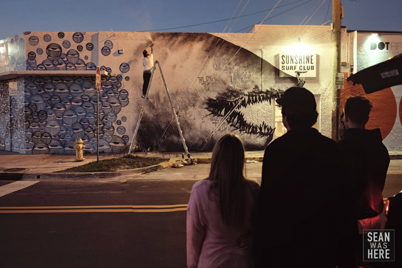 Shark Toof with a mural in progress for Sunshine Surf Club. Wynwood Miami