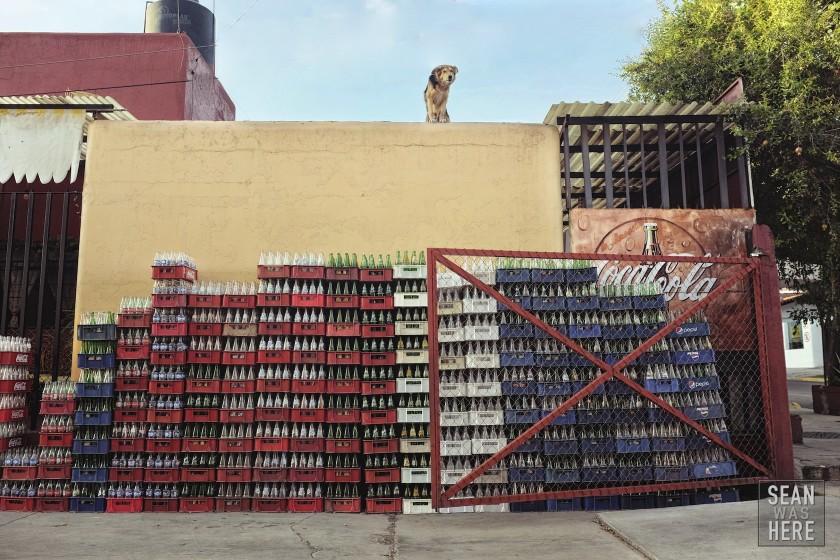 Stacks on stacks of coke bottles. Oaxaca, Mexico.