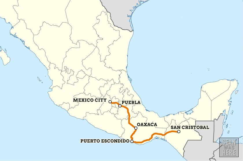 Started in Mexico City traveling south. Sean Was Here