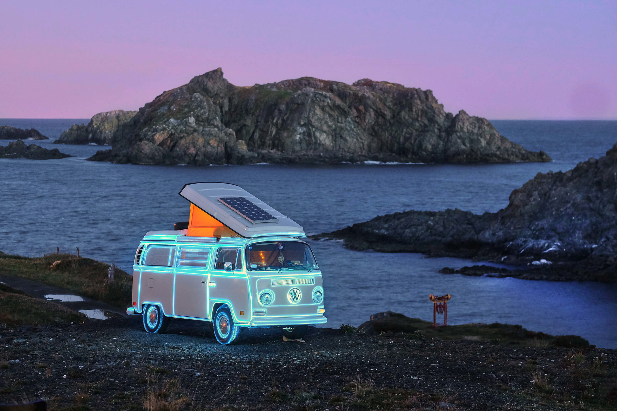 Sean Was Here Projection Mapping Installation on VW Bus Newfoundland
